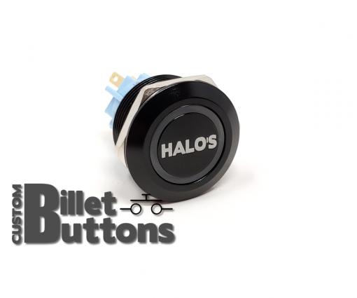 HALOS 22mm Laser Etched Custom Billet Buttons