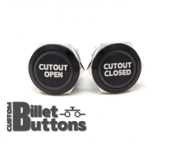 CUTOUT OPEN CLOSED 25mm Custom Billet Buttons
