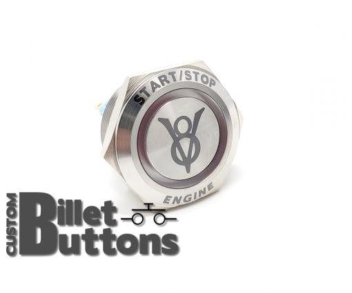 ENGINE START STOP with Ford V8 Vintage Logo 30mm Laser Etched Custom Billet Buttons